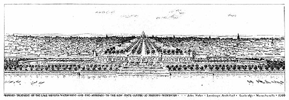 Drawing of proposed approaches to the Capitol, Madison