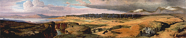 Color painting of Þingvellir, small version.