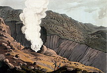 Color engraving of jet of steam at Krísuvík, small version.