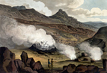 Color engraving of boiling mud at Krísuvík, small version.
