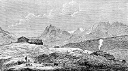 Winkler illustration of Steinsstaðir in 1858, small version.