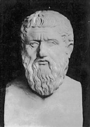 Greyscale image of bust of Plato, small version.