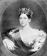 Greyscale image of painting of Queen Victoria, small version.