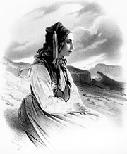Lithograph of Icelandic woman in traditional attire, small version.