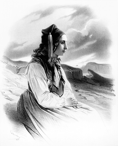 Lithograph of Icelandic woman in traditional attire, larger version.