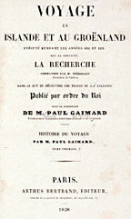 Title page of Gaimard expedition's report, small version.