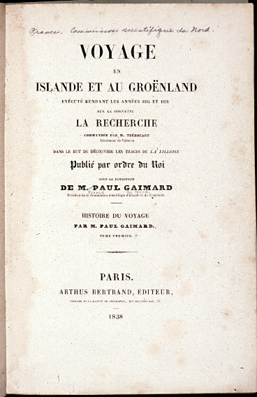 Title page of Gaimard expedition's report, larger version.