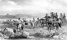 Lithograph of expedition party, small version.