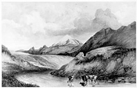 Lithograph of Mount Hekla, small version.