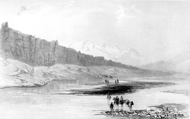Lithograph of Þingvellir in 1836, larger version.
