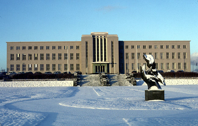 Color photo of University building, larger version.