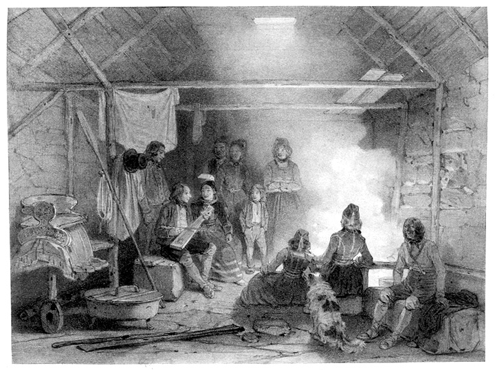 Lithograph of concert in kitchen of an Icelandic farmhouse, larger version.