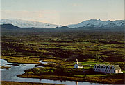Color photo of Þingvellir and Mount Broadshield, small version.