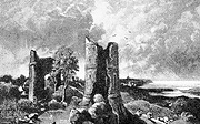 Greyscale image of tower ruin, small version.