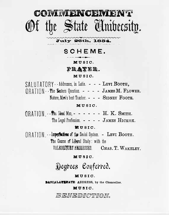 Image of 1854 UW Commencement Program